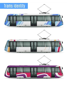 Realistyczny makieta pociągu pasażerskiego pociągu zestaw trzech podobnych wagonów tramwajowych o różnych barwach kolorystyka wzory ilustracji