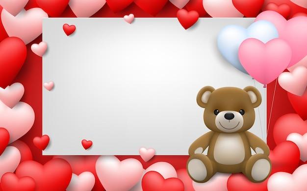 Realistyczny mały słodki uśmiechnięty miś przytula czerwone serce i siedzi na białej ramce z tłem pełnym serc.