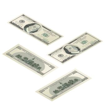 Realistyczny manekin sto dolarów usa banknot, przód i tył szczegółowe coupure w widoku izometrycznym na białym tle