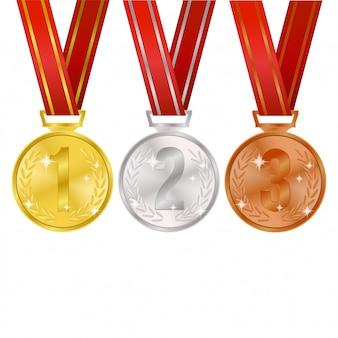 Realistyczny medal z wreah i wstążką