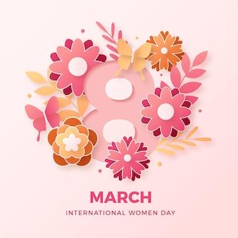 Realistyczny międzynarodowy dzień kobiet w stylu papierowym