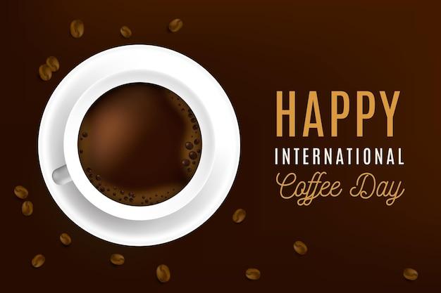 Realistyczny międzynarodowy dzień koncepcji kawy