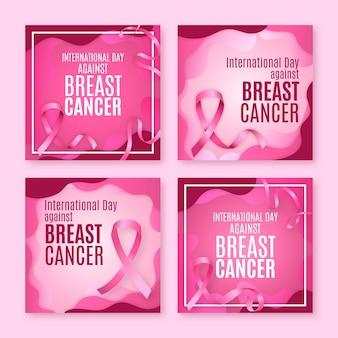 Realistyczny Międzynarodowy Dzień Przeciwko Kolekcji Postów Na Instagramie Raka Piersi Darmowych Wektorów
