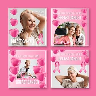 Realistyczny międzynarodowy dzień przeciwko kolekcji postów na instagramie raka piersi