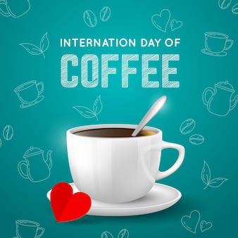 Realistyczny międzynarodowy dzień tła kawy