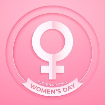 Realistyczny międzynarodowy znak dnia kobiet w stylu papierowym