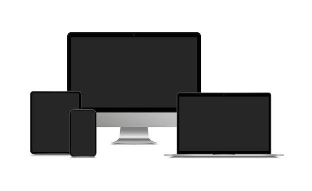 Realistyczny monitor komputerowy, laptop, tablet i smartfon. makiety komputera stacjonarnego, notebooka, tabletu, telefonu komórkowego z pustym czarnym ekranem. nowoczesny zestaw urządzeń.