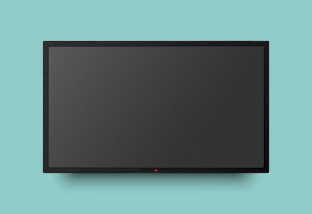 Realistyczny monitor telewizyjny z przyciskiem światła i cieniem. wiszący na ścianie wyświetlacz ledowy.