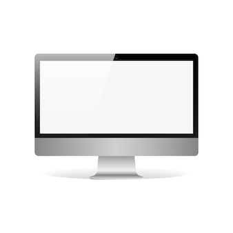 Realistyczny monitor z pustym ekranem dotykowym na białym tle na ilustracji wektorowych biały