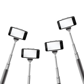 Realistyczny monopod z telefonem na przezroczystym tle. szablon do selfie lub robienia zdjęć.