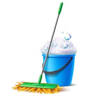 Realistyczny mop i niebieskie wiadro pełne mydlanej pianki z bąbelkami projekt prac domowych