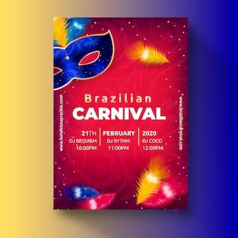 Realistyczny motyw brazylijskiego karnawału szablon ulotki