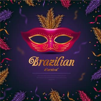 Realistyczny motyw karnawałowy brazylijski z czerwoną maską