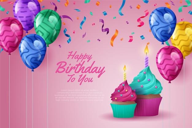 Realistyczny motyw tła urodziny