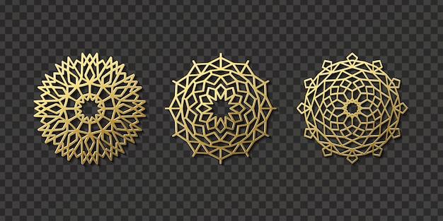 Realistyczny na białym tle arabski ornament do dekoracji i pokrycia na przezroczystym tle. pojęcie motywu i kultury wschodu.