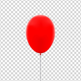 Realistyczny na białym tle czerwony balon do świętowania i dekoracji na przezroczystym tle.