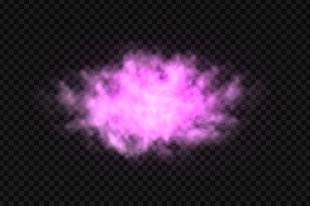 Realistyczny na białym tle kolorowy fioletowy dym.