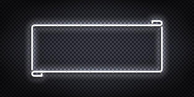 Realistyczny na białym tle neon znak białej ramki dla szablonu i układu.