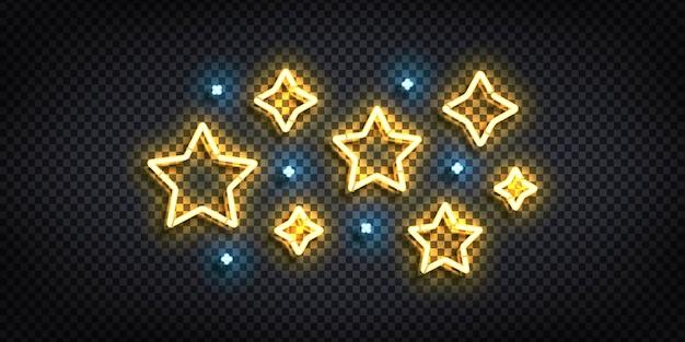 Realistyczny na białym tle neon znak logo gwiazdy.