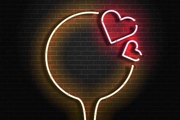 Realistyczny na białym tle neon znak logo ramki serca dla szablonu zaproszenia. koncepcja walentynki.