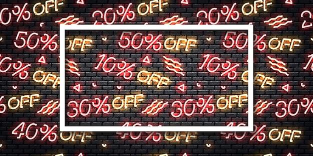 Realistyczny na białym tle neon znak logo ulotki czarny piątek do dekoracji szablonu.
