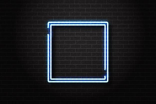Realistyczny na białym tle neon znak niebieskiej kwadratowej ramki do dekoracji szablonu i zakrywania zaproszeń na tle ściany.
