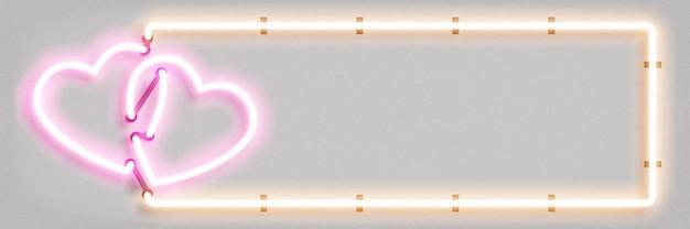 Realistyczny na białym tle neon znak ramki serca