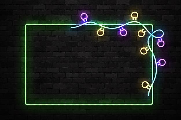 Realistyczny na białym tle neon znak świątecznej ramki na wesołych świąt i szczęśliwego nowego roku do dekoracji zaproszenia