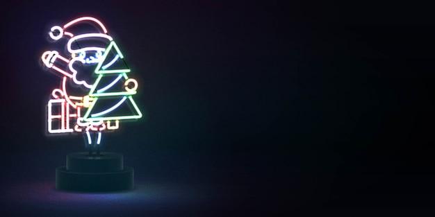 Realistyczny na białym tle neon znak świętego mikołaja i choinki