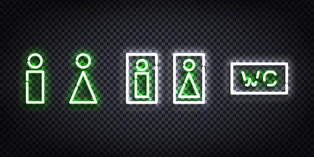 Realistyczny na białym tle neon znak szablonu wc