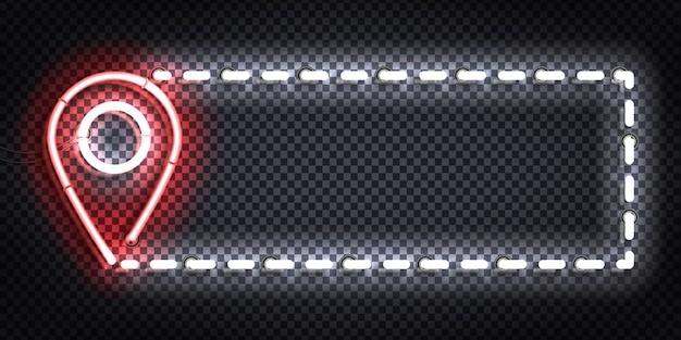 Realistyczny na białym tle neon znak ulotki map pin.