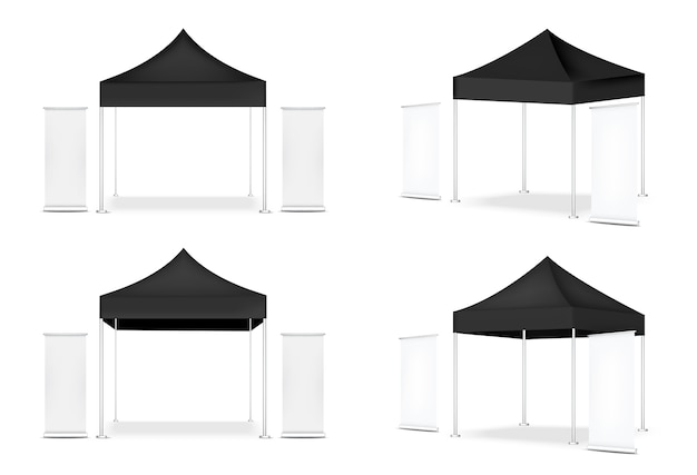 Realistyczny namiot i roll up. wystawa promocji sprzedaży banerów reklamowych