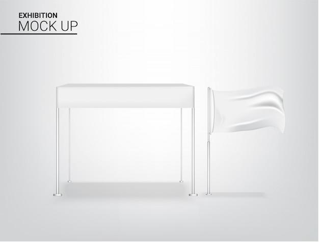 Realistyczny namiotowy markizy pokazu pop budka dla sklepowej sprzedaży marketingowej promocyjnej wystawy z kruszcową i chorągwianą szablonu tła ilustracją. projekt koncepcyjny reklamy.