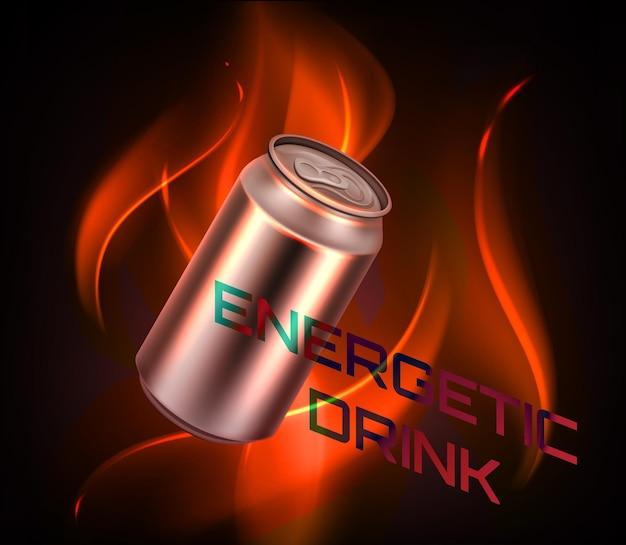 Realistyczny napój energetyczny gradientowy czerwony puszka z płomieniem ognia płonącym na ciemnoczerwonym tle