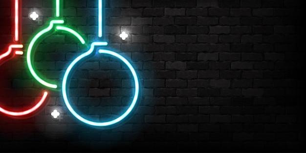 Realistyczny neon na białym tle bombek na wesołych świąt i szczęśliwego nowego roku do dekoracji zaproszenia
