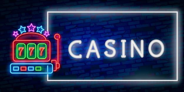 Realistyczny neon na białym tle kasyna