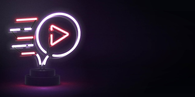 Realistyczny neon na białym tle logo odtwarzacza wideo do dekoracji i pokrycia. koncepcja mediów społecznościowych i studia filmowego.