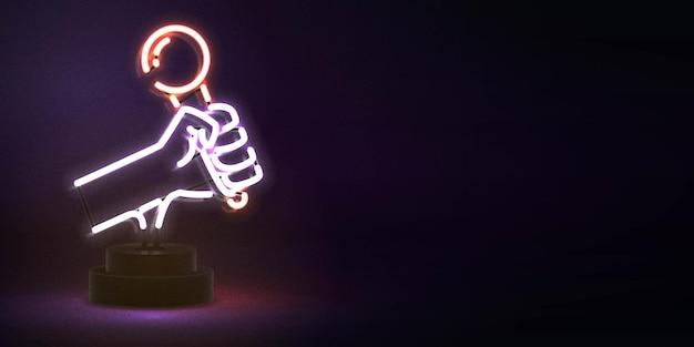 Realistyczny neon na białym tle ulotki karaoke do dekoracji szablonu i pokrycia zaproszeń. koncepcja karaoke, klubu nocnego i muzyki.