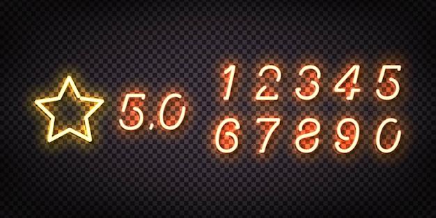Realistyczny neon z oceną gwiazdkową i liczbami