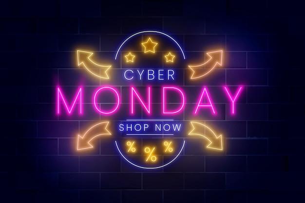 Realistyczny neonowy napis cyber poniedziałek