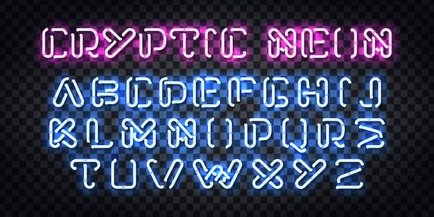 Realistyczny neonowy znak czcionki alfabetu cryptic neon do dekoracji szablonu i zakrywania zaproszeń na przezroczystym tle.