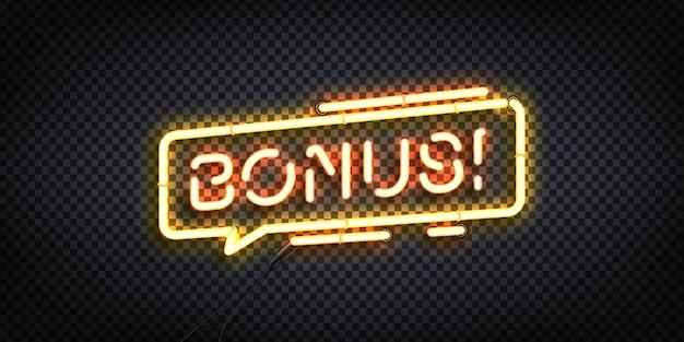 Realistyczny neonowy znak logo bonus