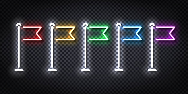 Realistyczny neonowy znak logo flagi do dekoracji i pokrycia.