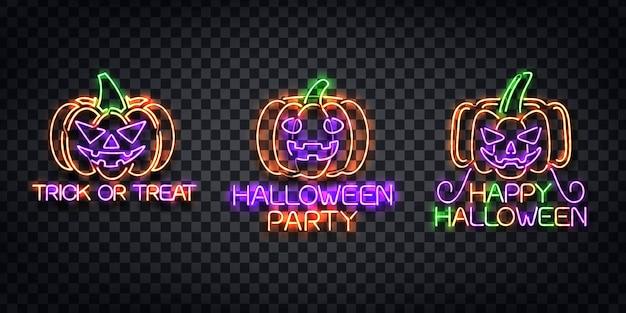 Realistyczny neonowy znak logo halloween do dekoracji szablonu i zaproszenia na przezroczystym tle.