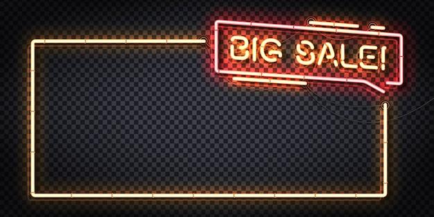 Realistyczny neonowy znak logo ramki big sale