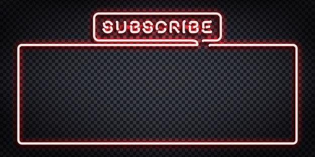 Realistyczny neonowy znak logo ramki subskrypcji do dekoracji szablonu i pokrycia na przezroczystym tle. koncepcja mediów społecznościowych i przesyłania strumieniowego.