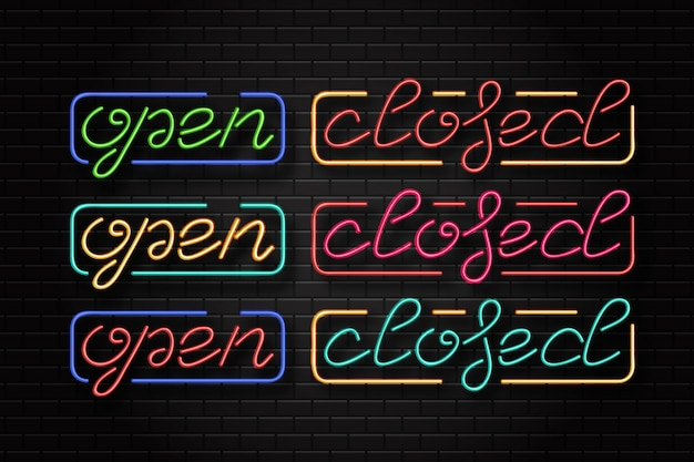 Realistyczny neonowy znak otwartego i zamkniętego logo do dekoracji szablonu i pokrycia układu na tle ściany. koncepcja kawiarni i restauracji.