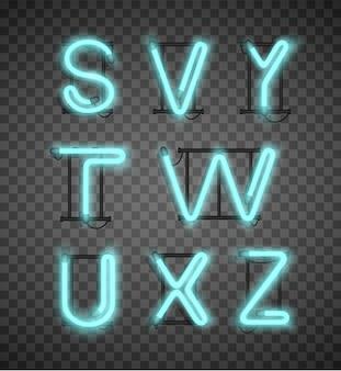 Realistyczny niebieski alfabet neonowy zestaw ulicznych pasków.