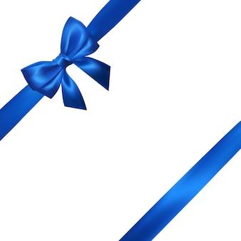 Realistyczny niebieski łuk z niebieskimi wstążkami na białym tle. element do dekoracji, prezenty, pozdrowienia, święta.