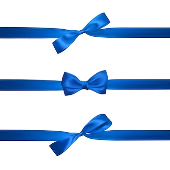 Realistyczny niebieski łuk z poziomymi niebieskimi wstążkami na białym tle. element do dekoracji, prezenty, pozdrowienia, święta.
